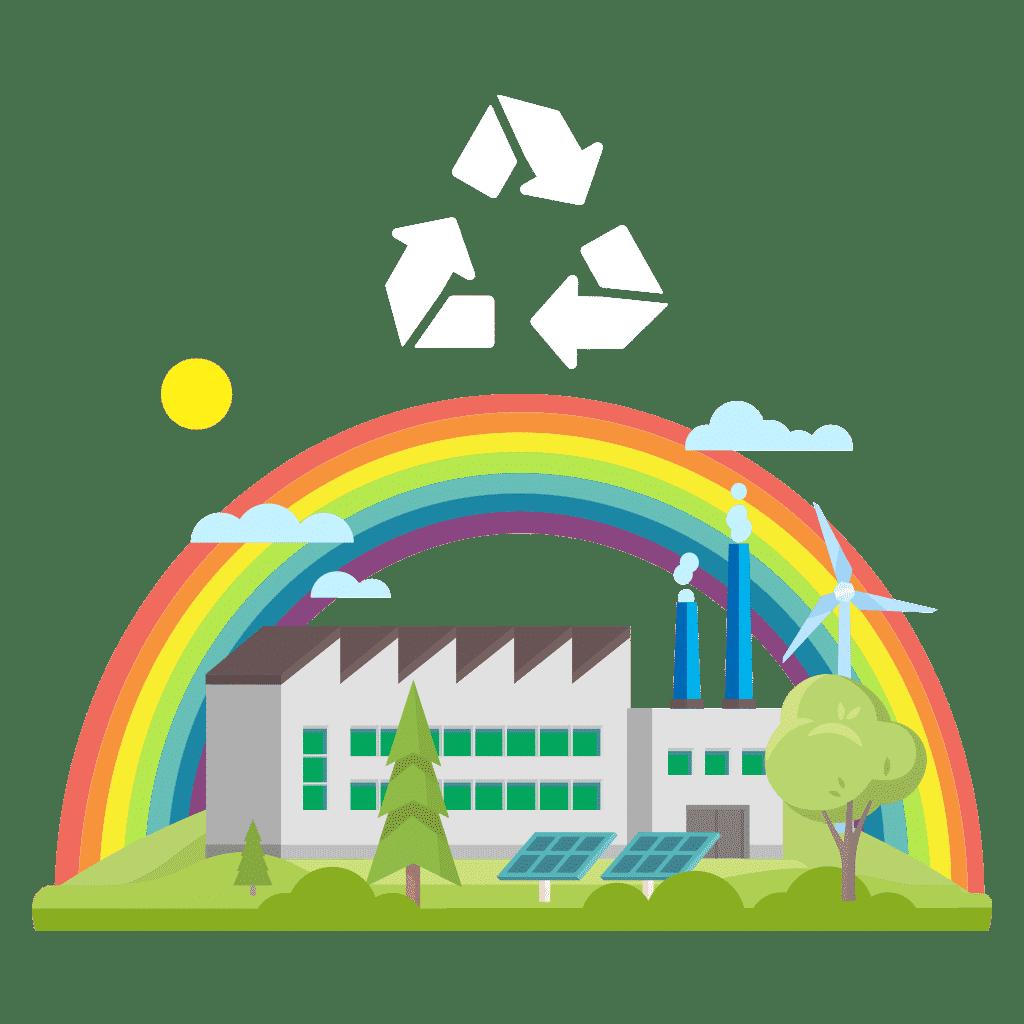 Eine Fabrik auf der grünen Wiese, dahinter ein Regenbogen als Symbolbild für Nachhaltigkeit