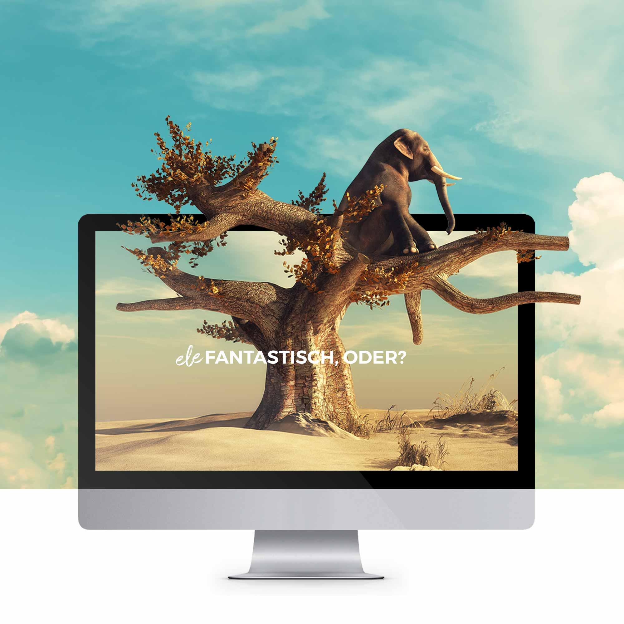 Elefant der aus einem Bildschirm entweicht