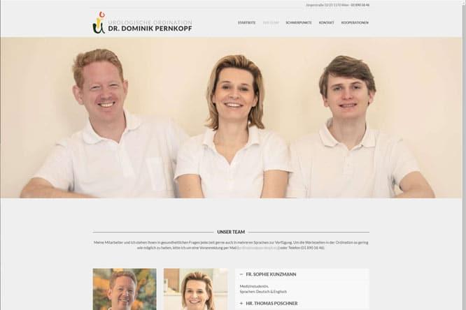 Webdesign Dr. Pernkopf Team